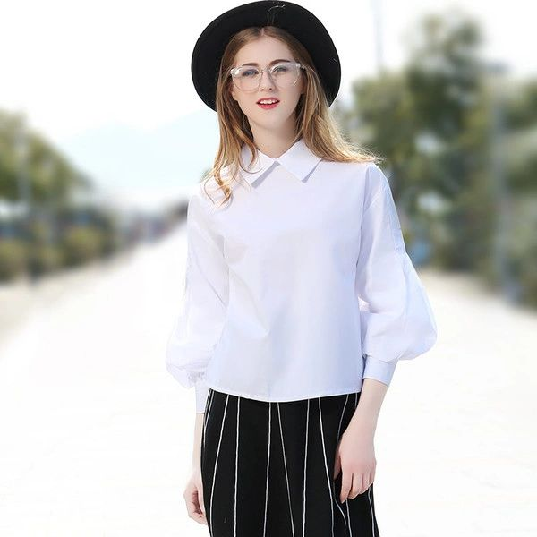 Chic Puff Sleeve Woman White Blouse