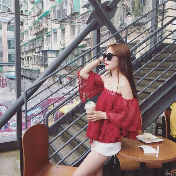 Boat Neck Floral Chiffon Blouse Top