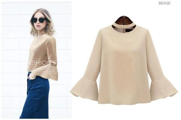 Fall Clothing Flare Sleeve Chiffon Blouse