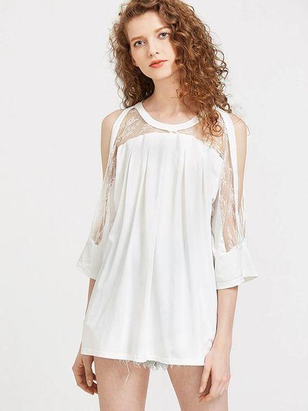 Stylish Off Shoulder Lace Patch Blouse Design