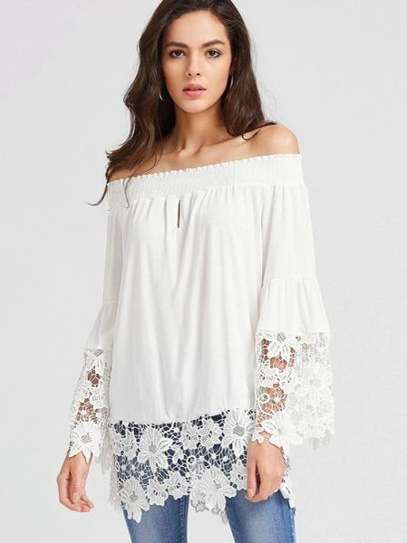 New Lace Patchwork Boat Neck Blouse