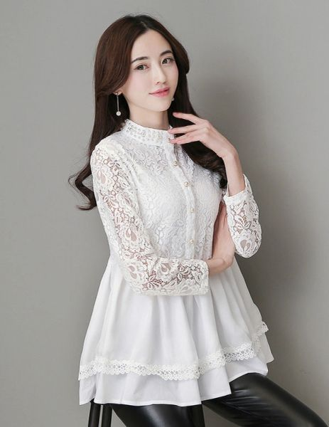 Lace Crochet Long Sleeve Blouse Top