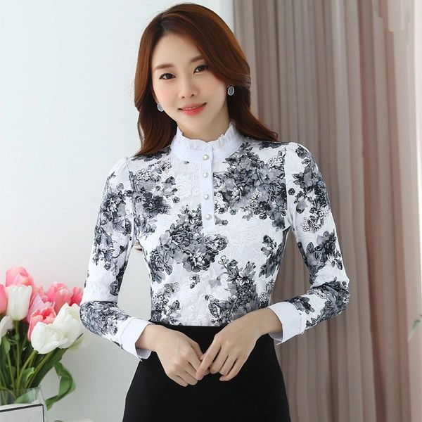 Fall And Winter Floral Fleece Casual Blouse Deign