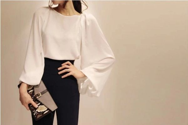 New Arrival Puff Sleeve Solid White Blouse