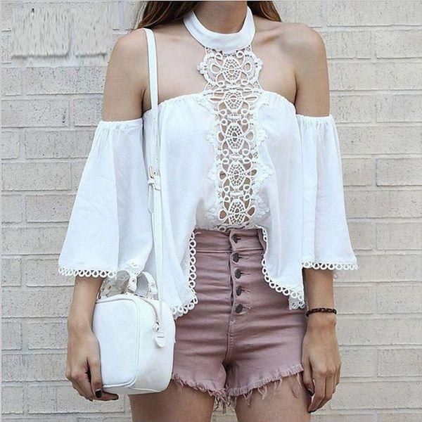 Bare Shoulder Laciness Halter Blouse Design