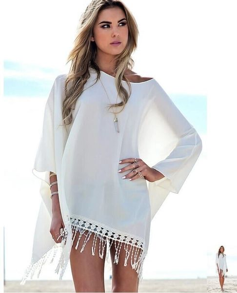 Asymmetric Fringed Shawl Blouse Design