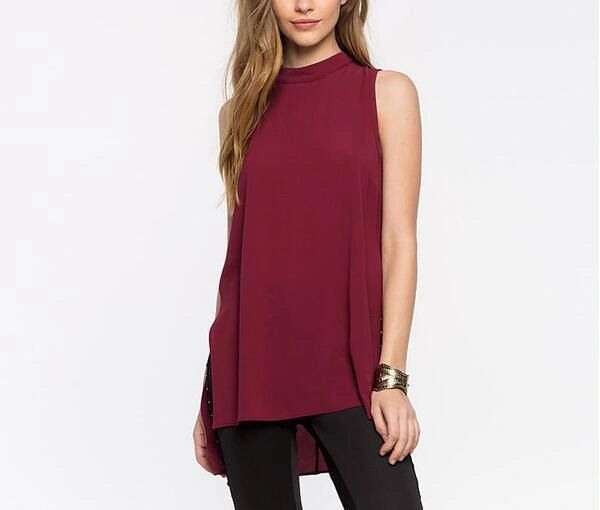 Simple Fashion Backless Sleeveless Chiffon Blouse