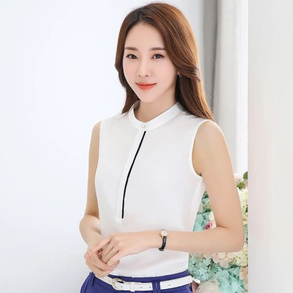 Korean Style Sleeveless Stand Collar Blouses