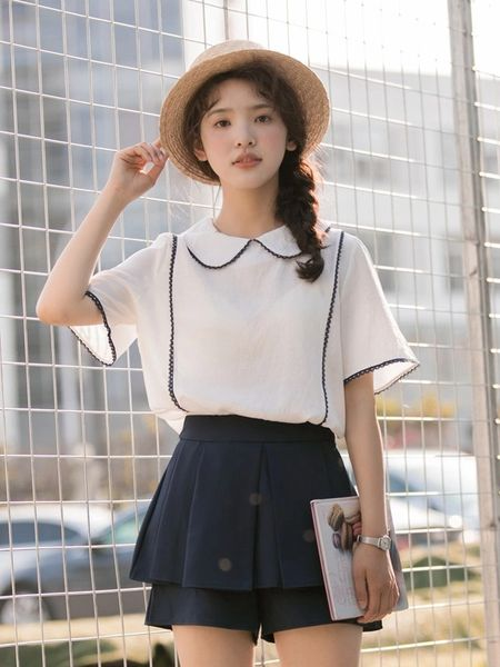 College Style Doll Collar Blouse Design