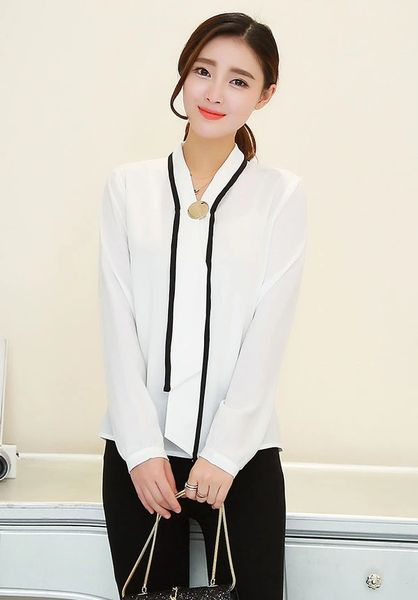 Office Lady V Neck Chiffon Blouse