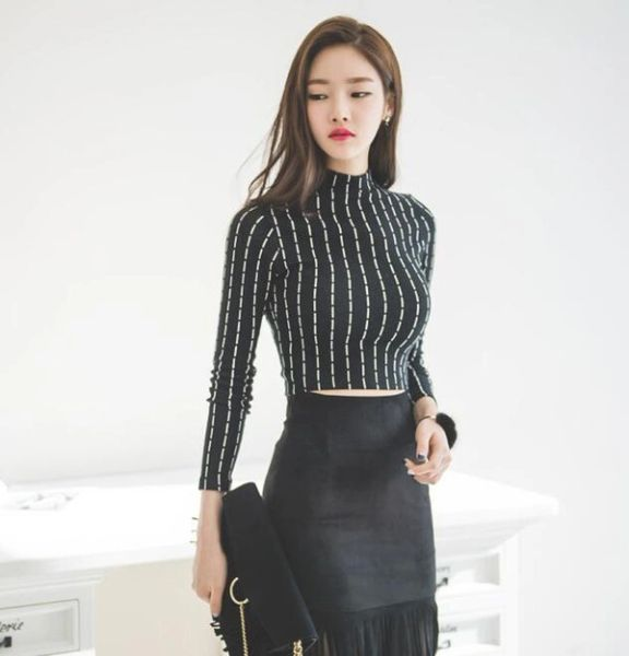 Korean Style Striped Bodycon Cropped Blouse Tops