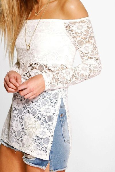 Sexy Lace Off Shoulder Cheap Blouse For Woman