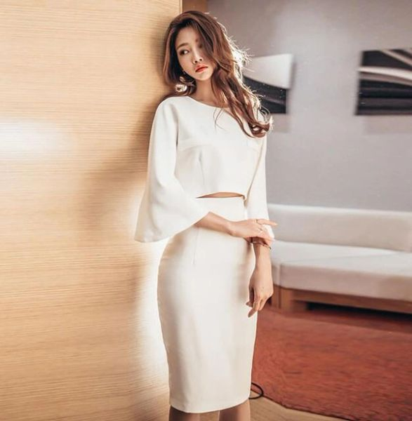 Two Pieces Sets Flare Sleeve Top With Wrap Skirt