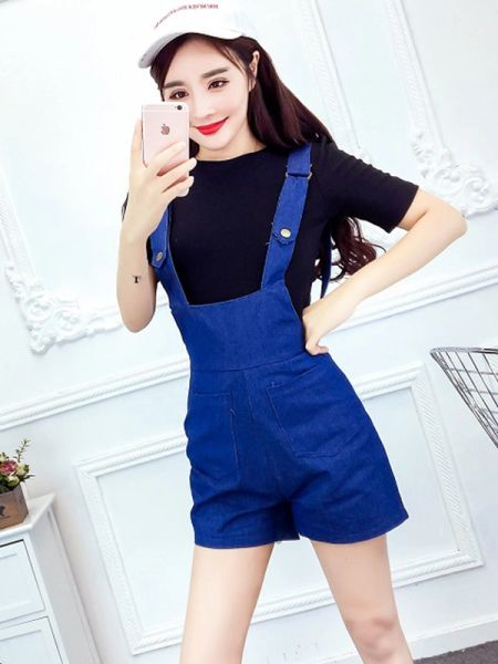 Solid Tee With Denim Overall Women Suits