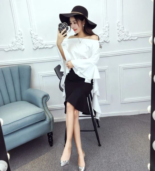 Lady Fashion Boat Neck Off Shoulder Tops Women Suits