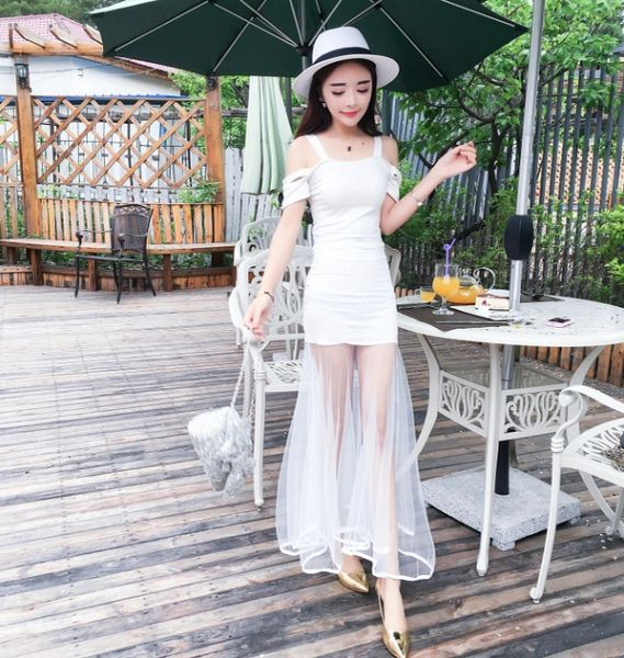 Wholesale Woman Suits Straps Blouse With Gauze Skirt