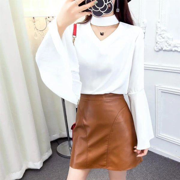 Chic Woman Sets Flare Sleeve Top With A Line Skirt