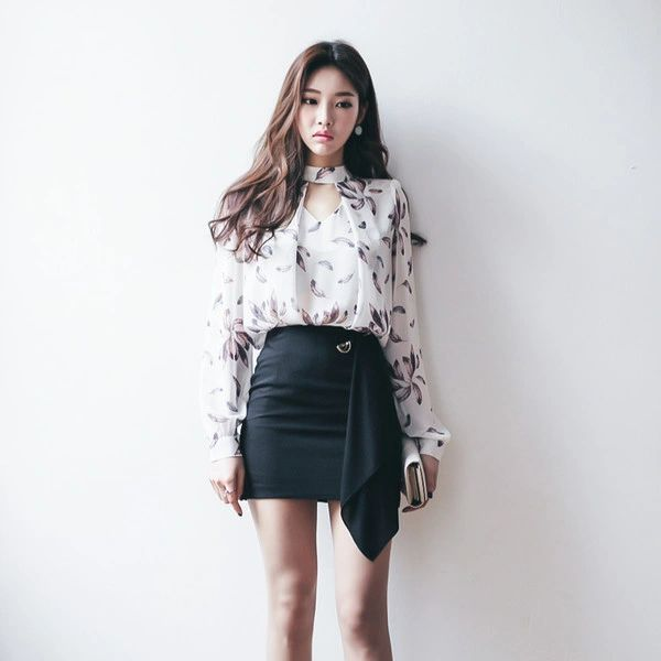 Print Blouse With Short Skirts Women Suits