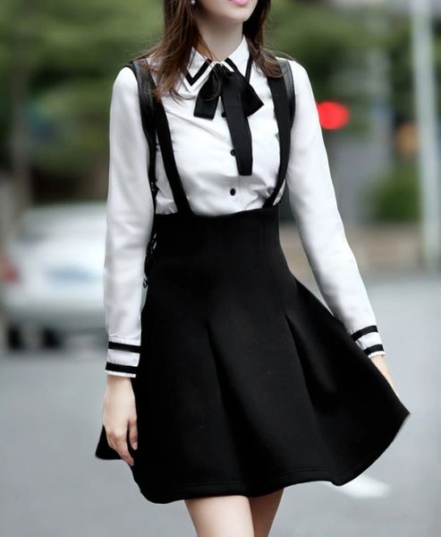 Bow tie top with Black Overall Skirt