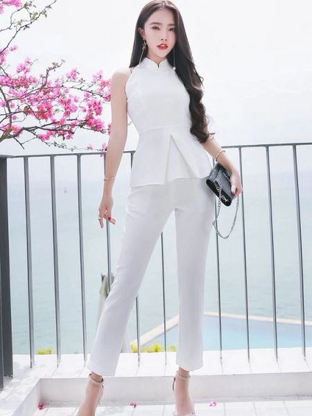 OL Sets Smart Waist Sleeveless Blouse With Pants