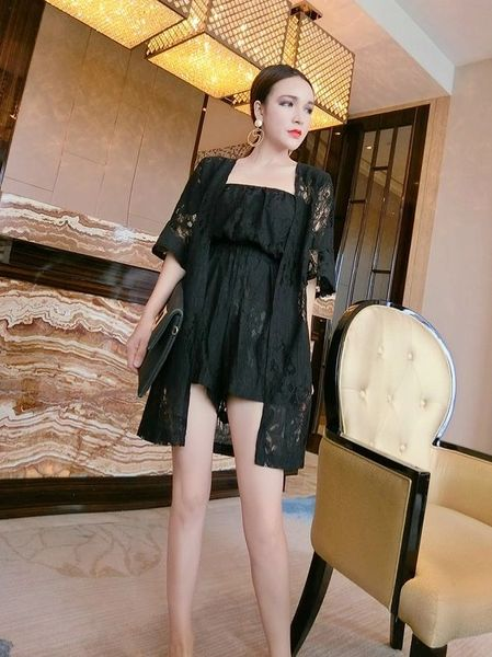 Stylish Lace Solid Rompers With Cardigan Suits