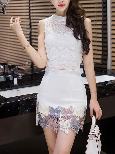 Fashion Sexy Lace Detail Embroidery Shirt With Skirt Suit