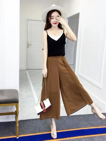 New Woman Sets V Neck Tank With Loose Pants
