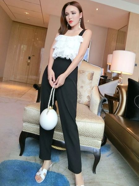 Stylish Lace Fluffy Top With Harem Pants Suits
