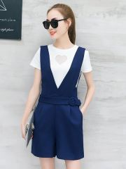 Two Pieces Suits White T Shirt With Suspender Pants
