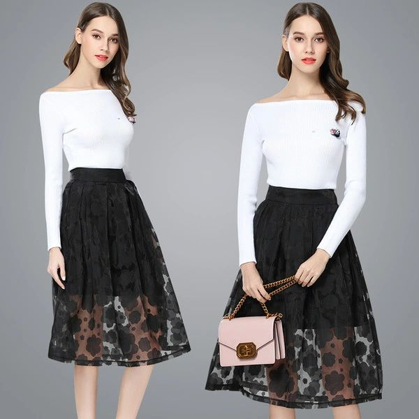 Boat Neck Knitted Blouse With Euro Lace High Waist Skirt