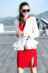 Early Fall Ruffle Buckle Woman Blazers Coat