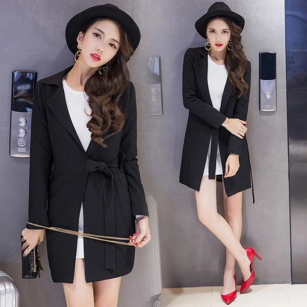 Korean Style Solid Long Sleeve Blazer For Women