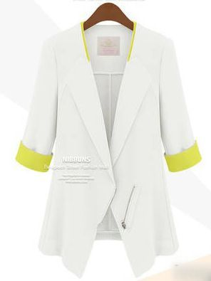 Elegant Autumn Three-quarter Sleeve Zipper White Suit