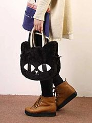 Personality Kitty Design Zipper Solid Color Women Cute Bags