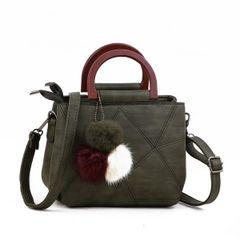 Geometric Pattern Zipper Handle Shoulder Bag