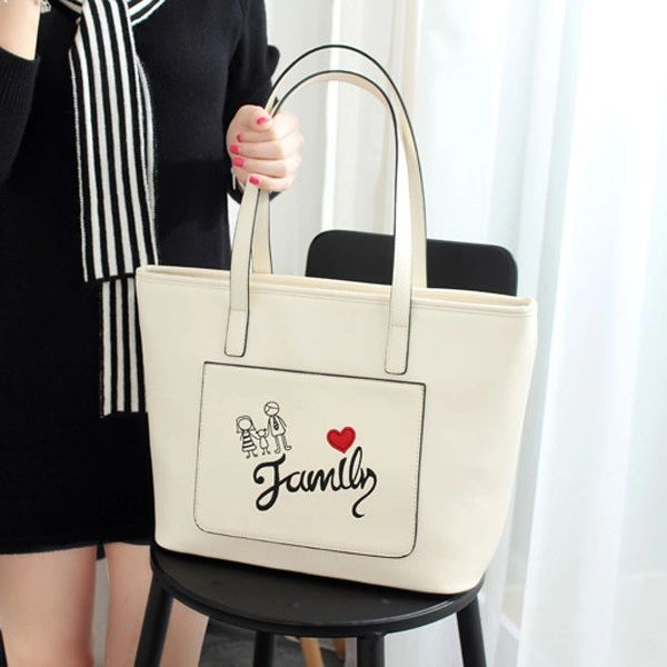 Letter Pattern Embroidery Shopping Shoulder Tote Bags