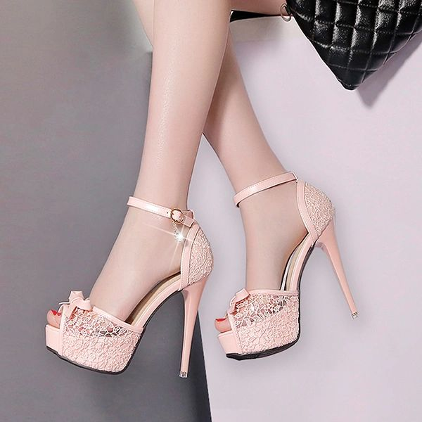 Ladies Lace Peep Toe Stiletto Sandals