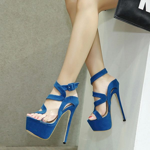 Transparent Patch Platform Stiletto Sandals