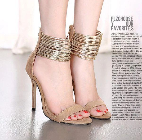 European And American Style Zipper Bandage Stiletto Pumps