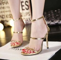 Wholesale Back Zip Anklet Thin Heels Gold Pumps Sexy Pumps