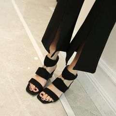 Open Toe Metal Ring Chunky Heeled Sandals
