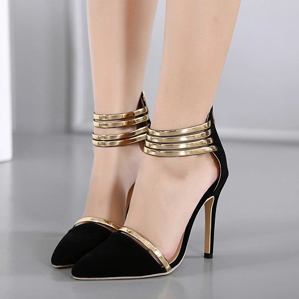 Stylish Metal Belt Pointed Stiletto Sandals