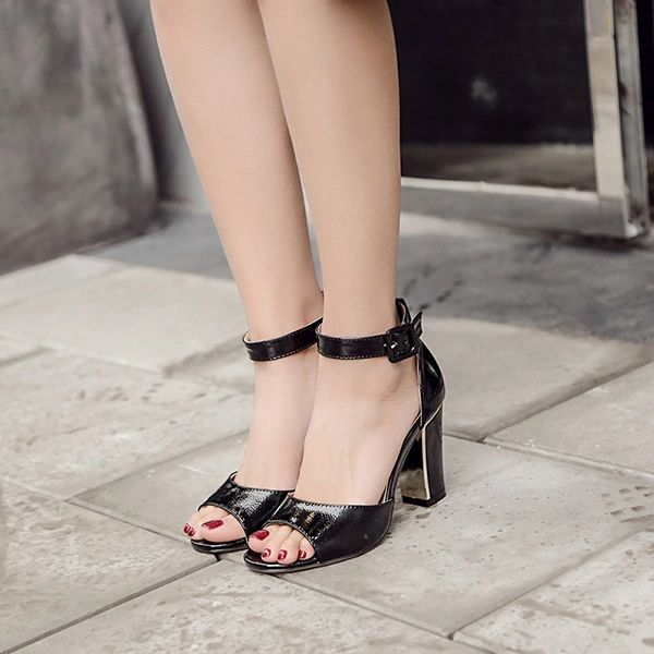 All Match Solid Peep Toe Chunky Sandals