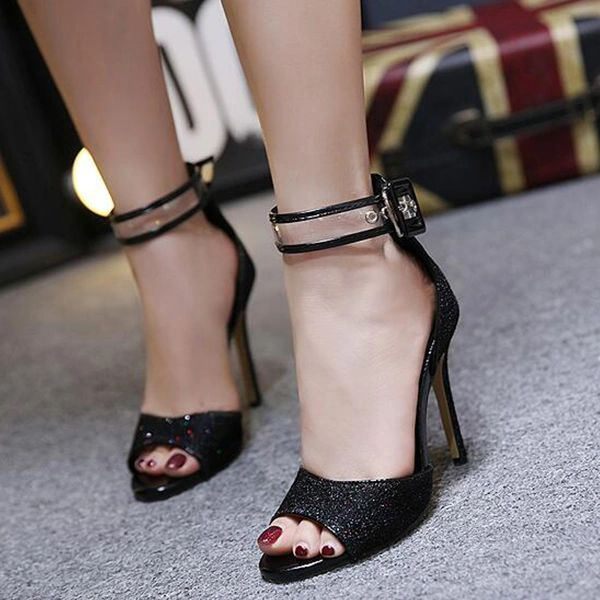 Euro Style Sequined Party Stiletto Sandals