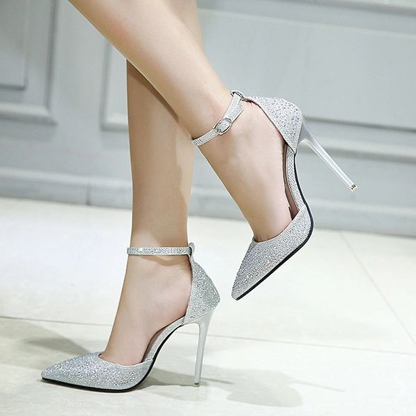 Lady Diamonds Pointed Stiletto Wedding Sandals