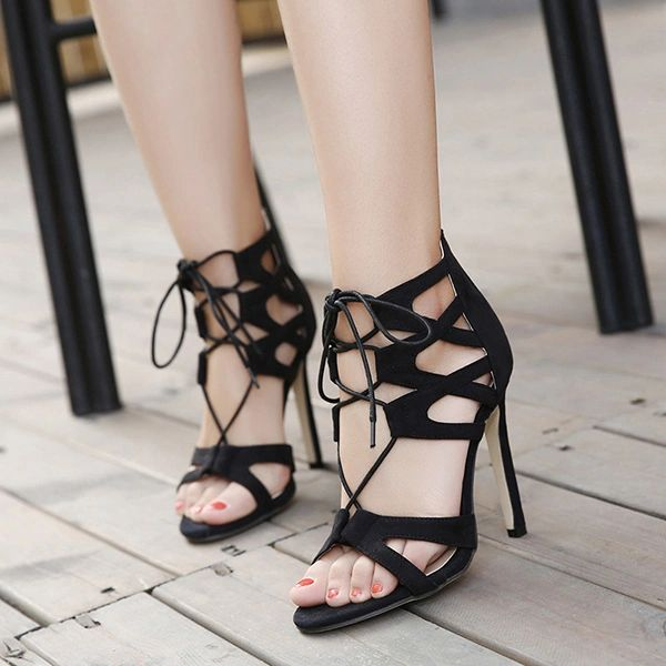 Stylish Lace Up Hollow Stiletto Sandals