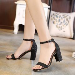 Solid Sequined Chunky Sandals For Women