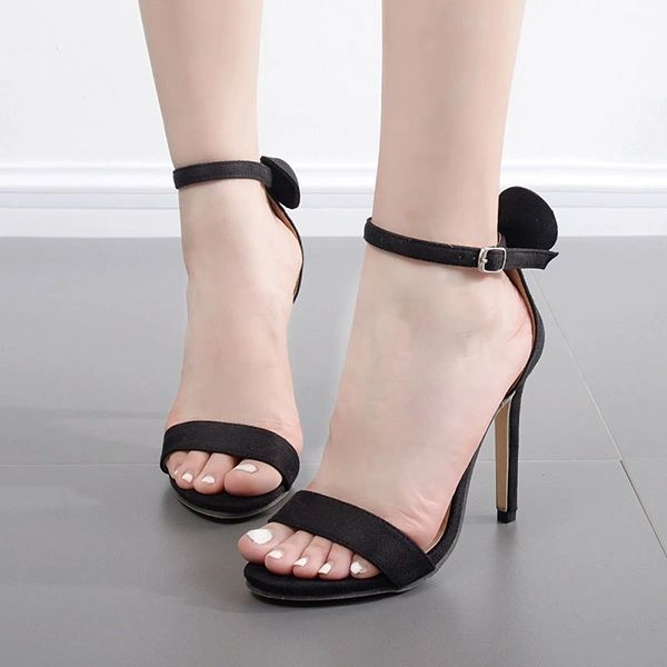 Thin Straps Bow Stiletto Sandals For Women