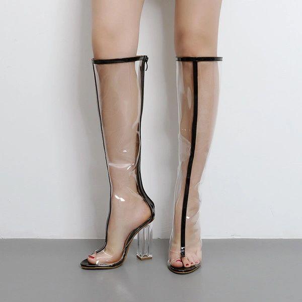 Transparent Peep Toe Women Boots