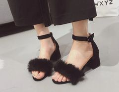 Fur Chunky Ladies Sandals Shoes